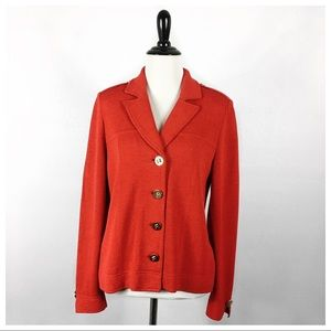 St. John Red Santana Knit Blazer/Jacket Size 4
